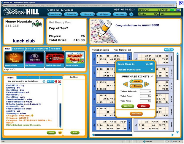 William Hill Bingo Lobby